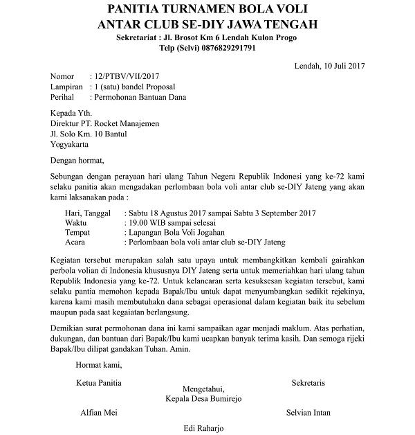 Contoh Surat Permohonan Bantuan Dana Kegiatan yang Benar