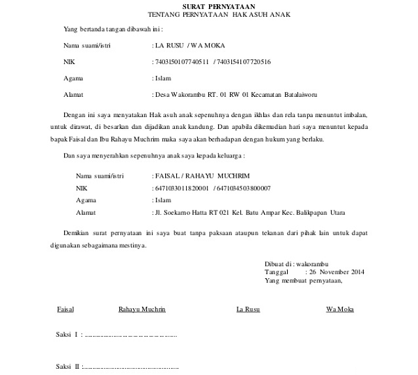 Surat Pernyataan Hak Asuh Anak Pasca Perceraian