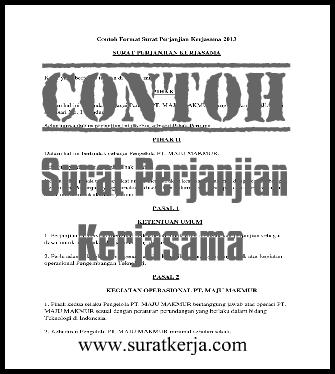 Contoh Surat Perjanjian Kerjasama Terbaru 2013