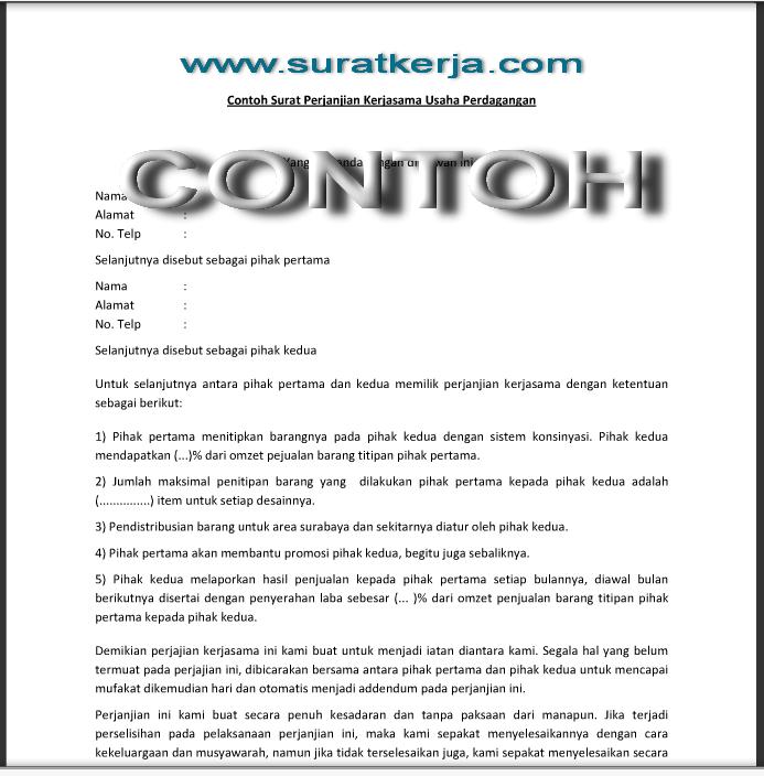 Contoh Surat Perjanjian Kerjasama Usaha Perdagangan Suratkerja Com