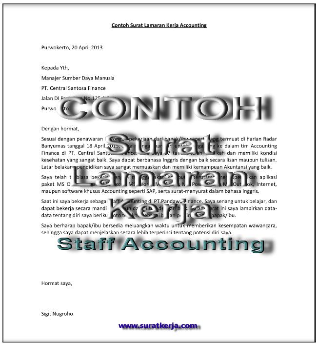 3 Contoh Surat Lamaran Kerja Staff Accounting Suratkerja Com
